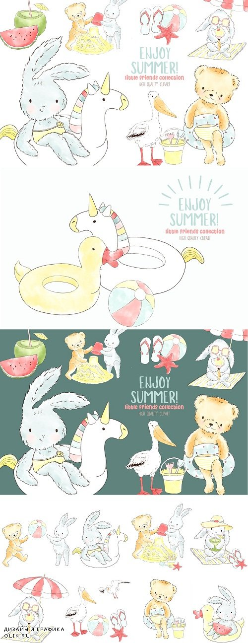 Summer animals watercolor clipart - 3770345