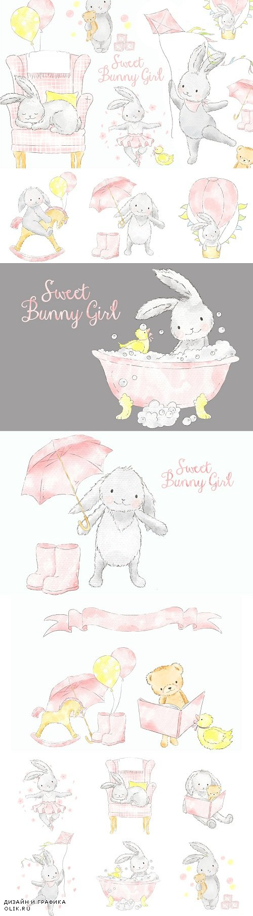 Sweet Bunny Girl watercolor clipart - 3712172