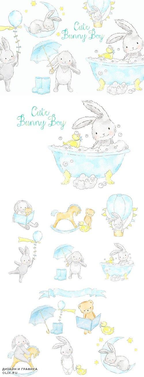 Cute bunny boy watercolor clip art - 3706088