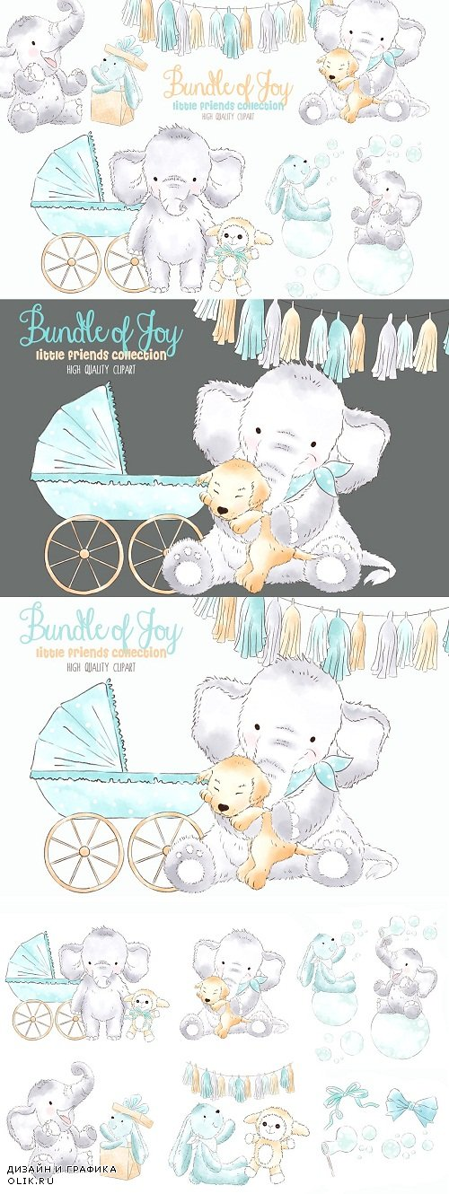 Elephant Babyboy Watercolor Clipart - 3770996