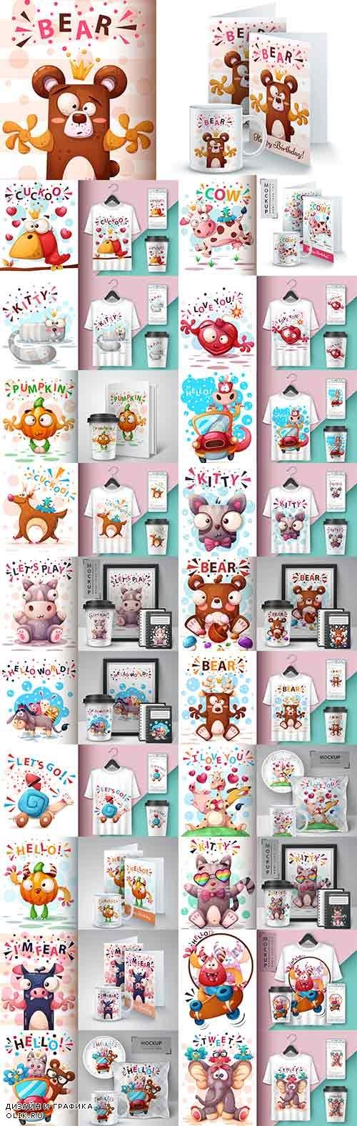 Фоны с забавными животными в векторе / Backgrounds with funny animals in vector