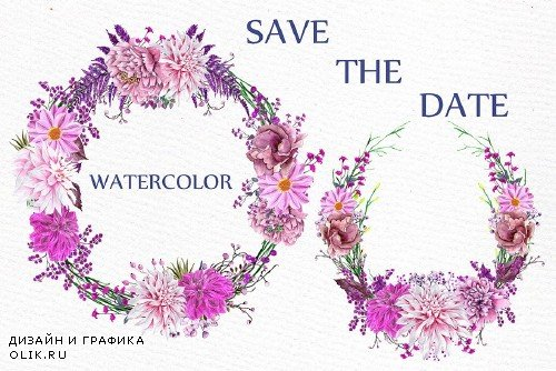 Watercolor Pink Wreaths Clipart - 1165547