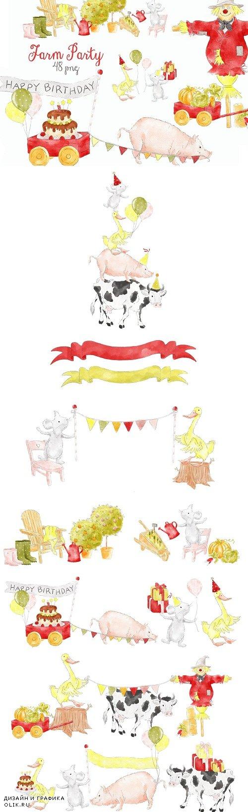 Farm Party Barnyard Animals Clipart - 3723105