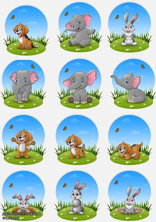 Животные на лужайке - Векторный клипарт / Animals on the lawn - Vector Graphics