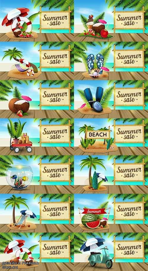 Здравствуй лето - 7 - Векторный клипарт / Hello summer - 7 - Vector Graphics