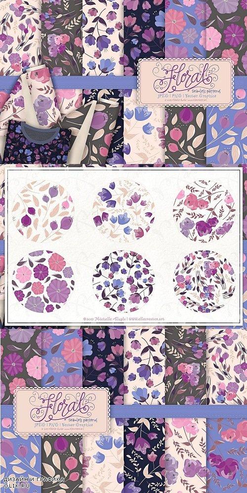 Flora 25 Purple Seamless Patterns - 3784253