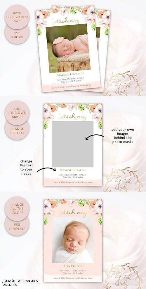 Birth Announcement Card Template #8 - 3800801