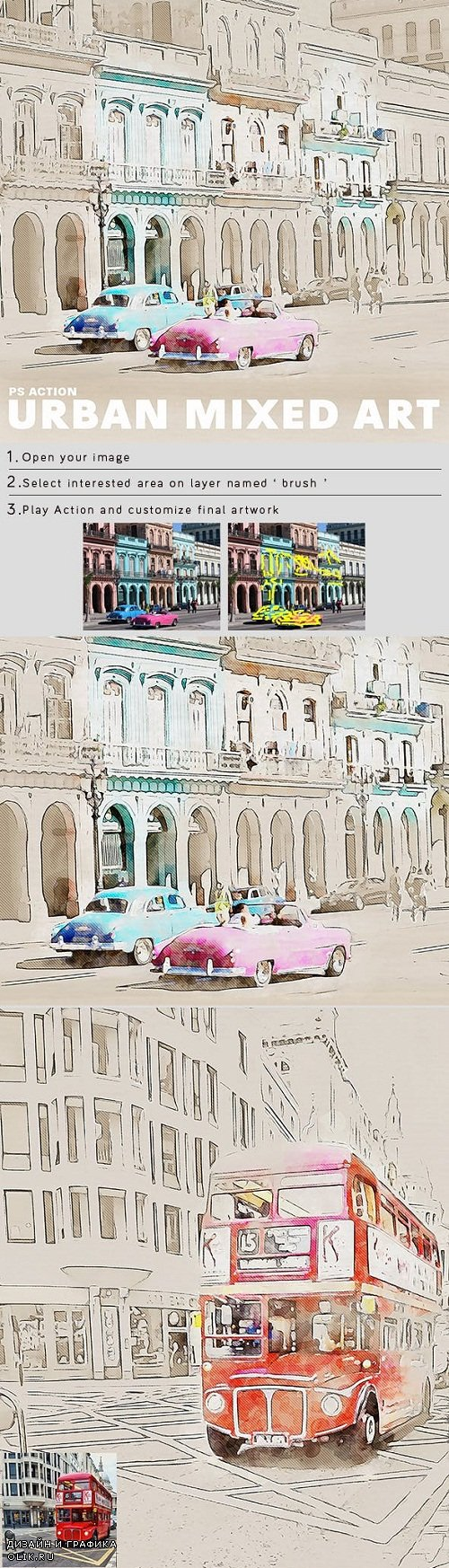 Urban Mixed Art Photoshop Action 23450366