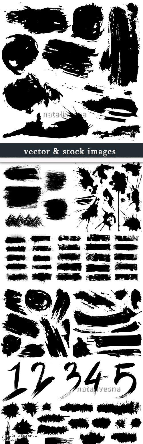 Grunge black ink brush strokes big collection elements 12