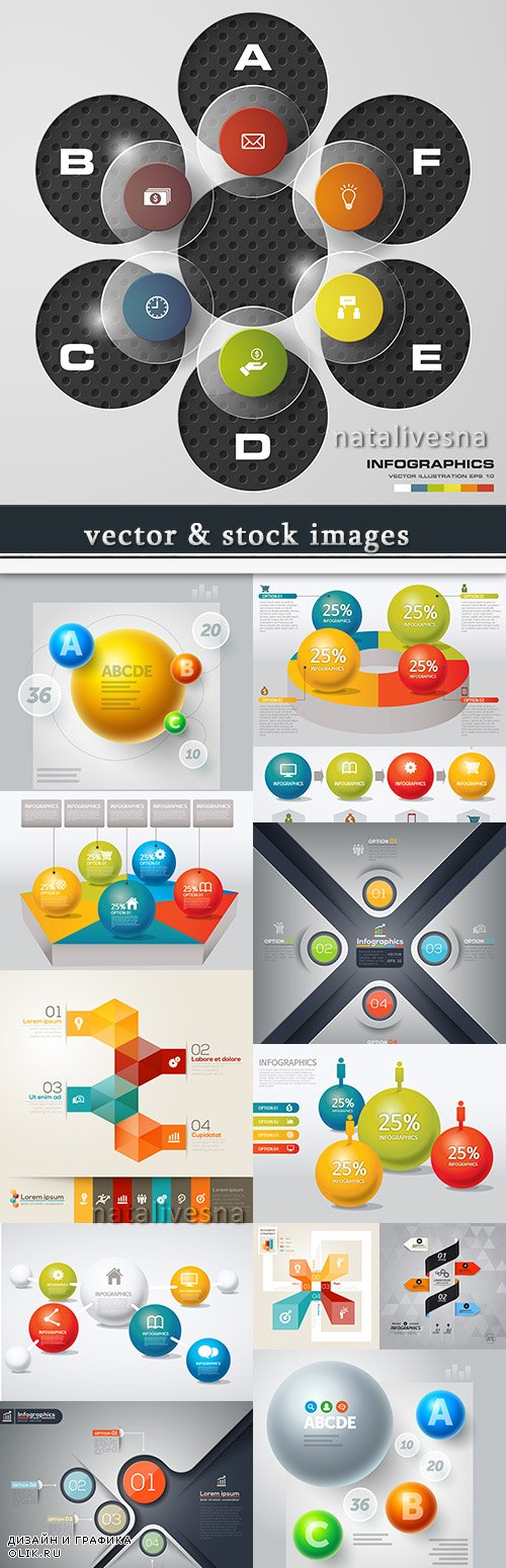 Business infographics options elements collection 60