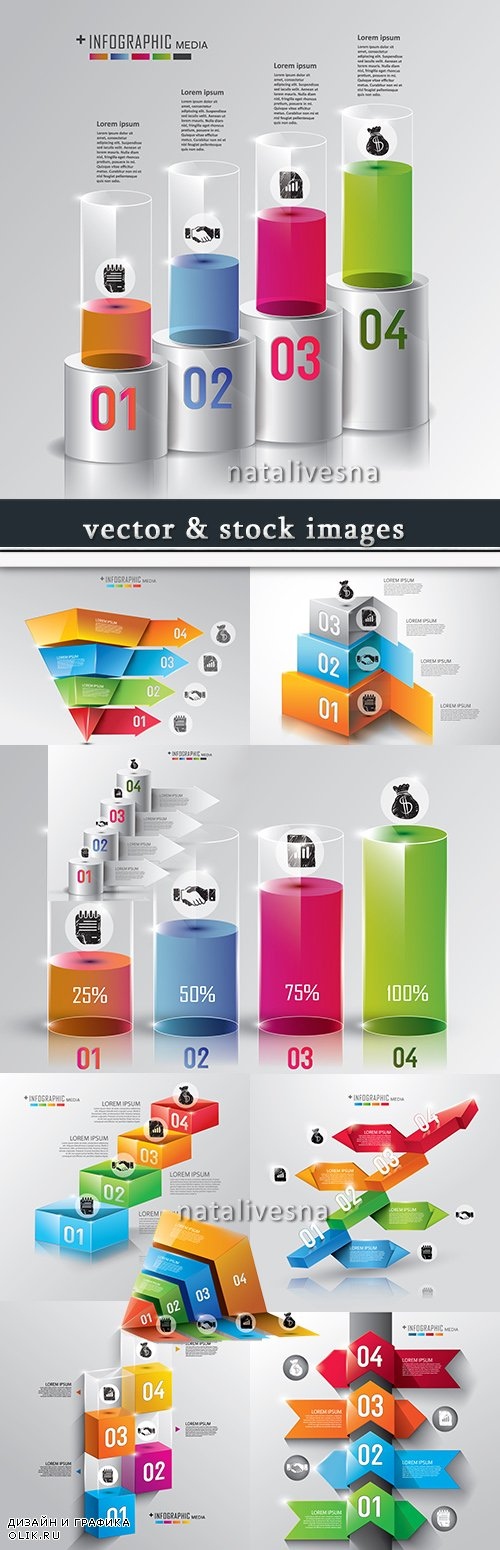 Business infographics options elements collection 61