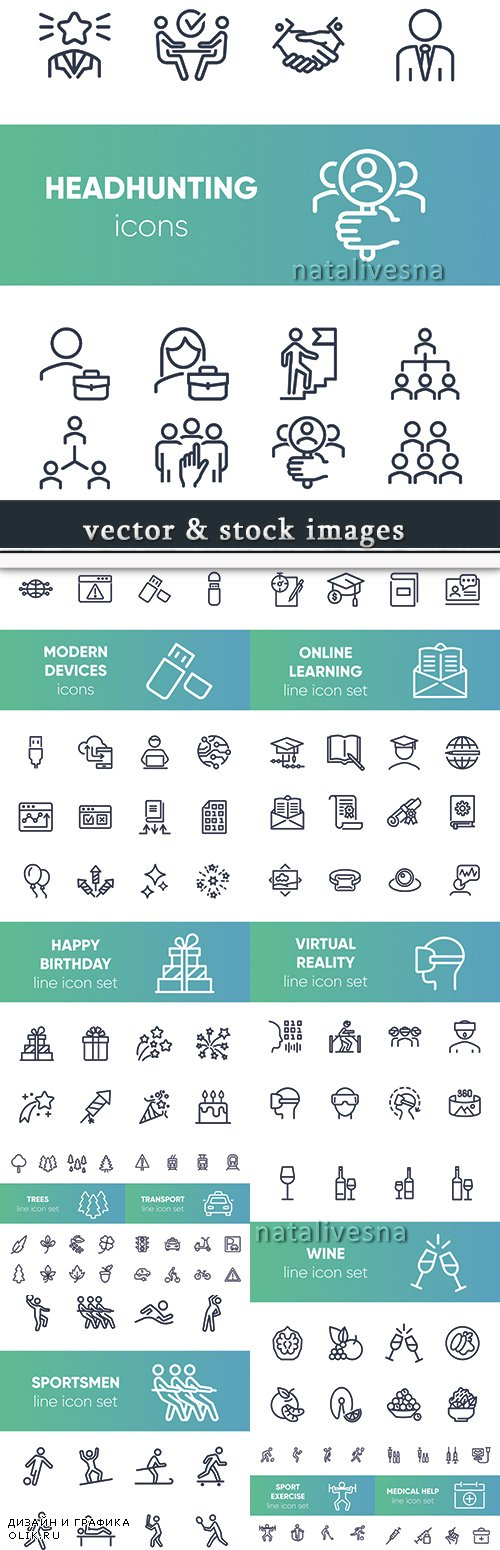 Business line flat icon vector illustration collection 10