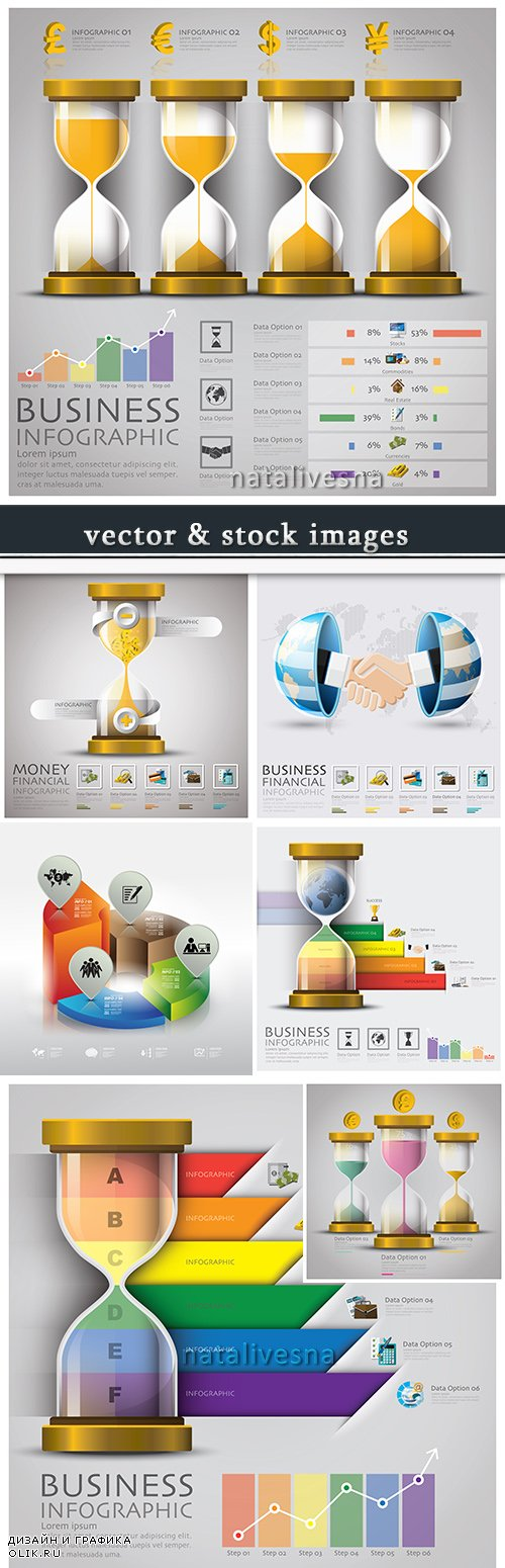 Business infographics options elements collection 58