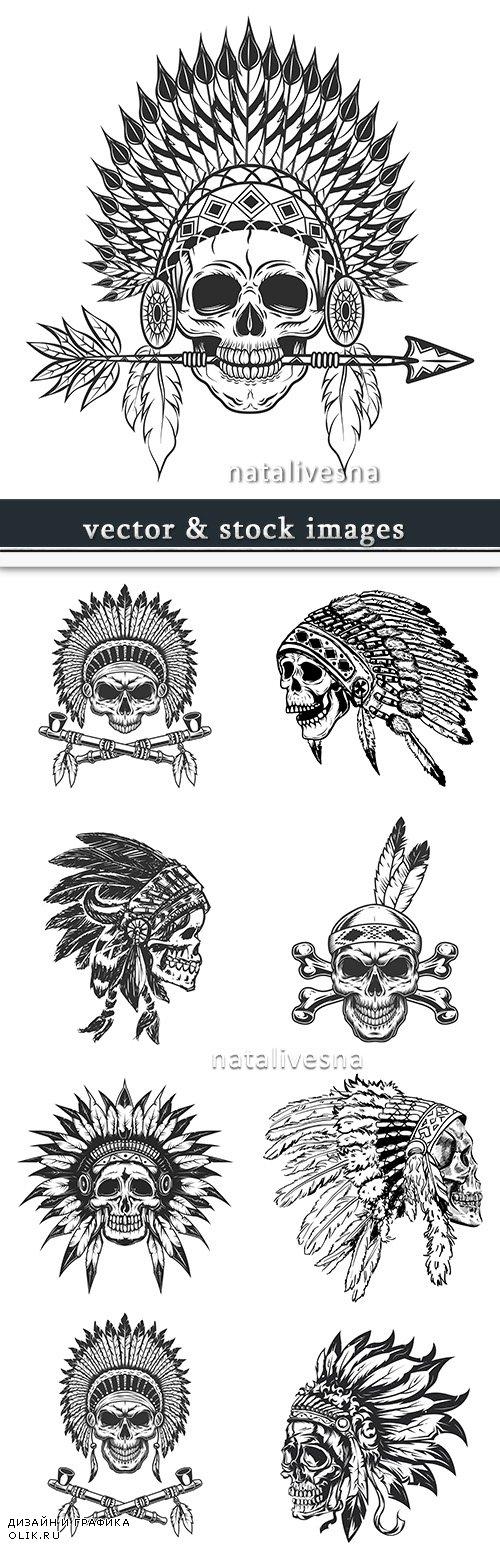 Indian headdress from feathers skull design vintage tattoo