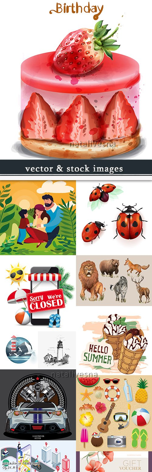 Vector illustrations on different subjects collection 39