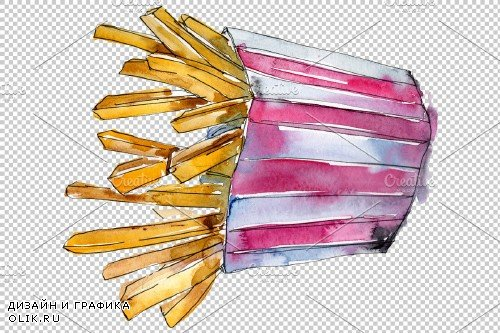 French fries Watercolor PNG - 3807133