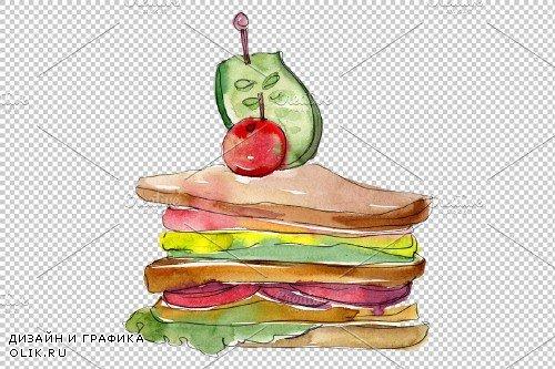 Sandwich Muffuletta watercolor png - 3808077