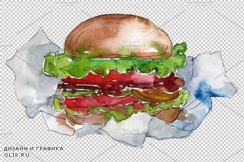 City Hamburger Watercolor png - 3807920