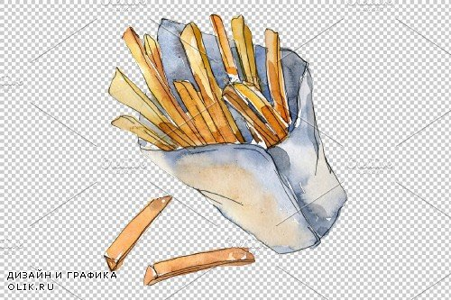 Watercolor French fries PNG - 3807929
