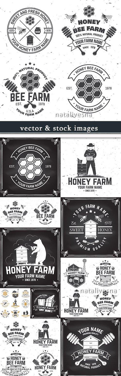 Beekeeping vintage label and premium emblem design