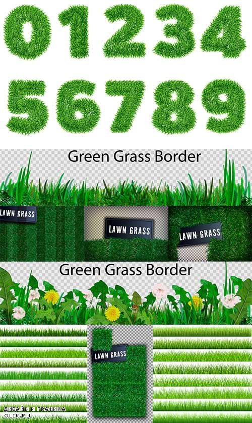 Трава и цифры в векторе / Grass and numbers in vector