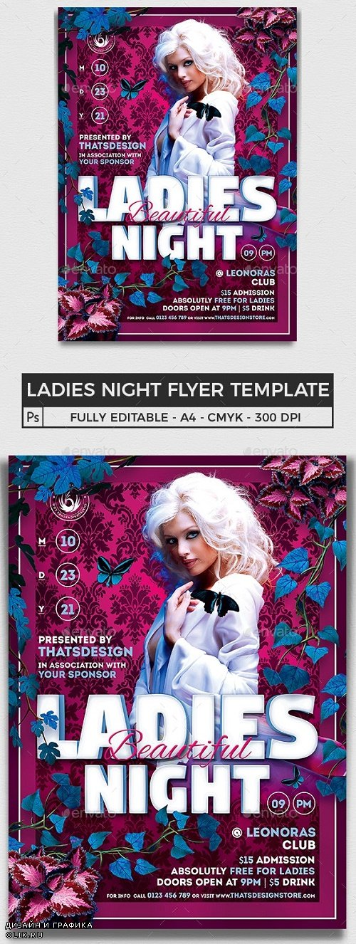 Beautiful Ladies Night Flyer Template - 7743064 - 91006