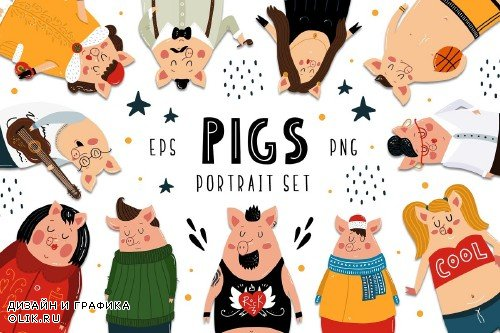 Pigs Portarait Set - 3104269