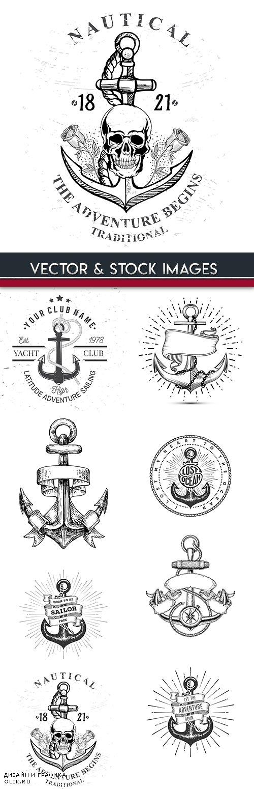 Sea anchor vintage drawn emblem tattoo design