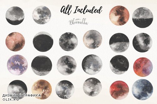 Watercolour Moons 22 Elements Night - 3812271