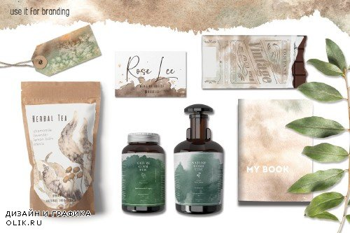 Green & Sienna watercolor collection - 3673254