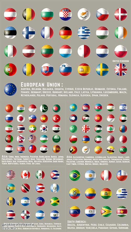 Иконки с флагами разных стран в векторе / Icons with flags of different countries in the vector