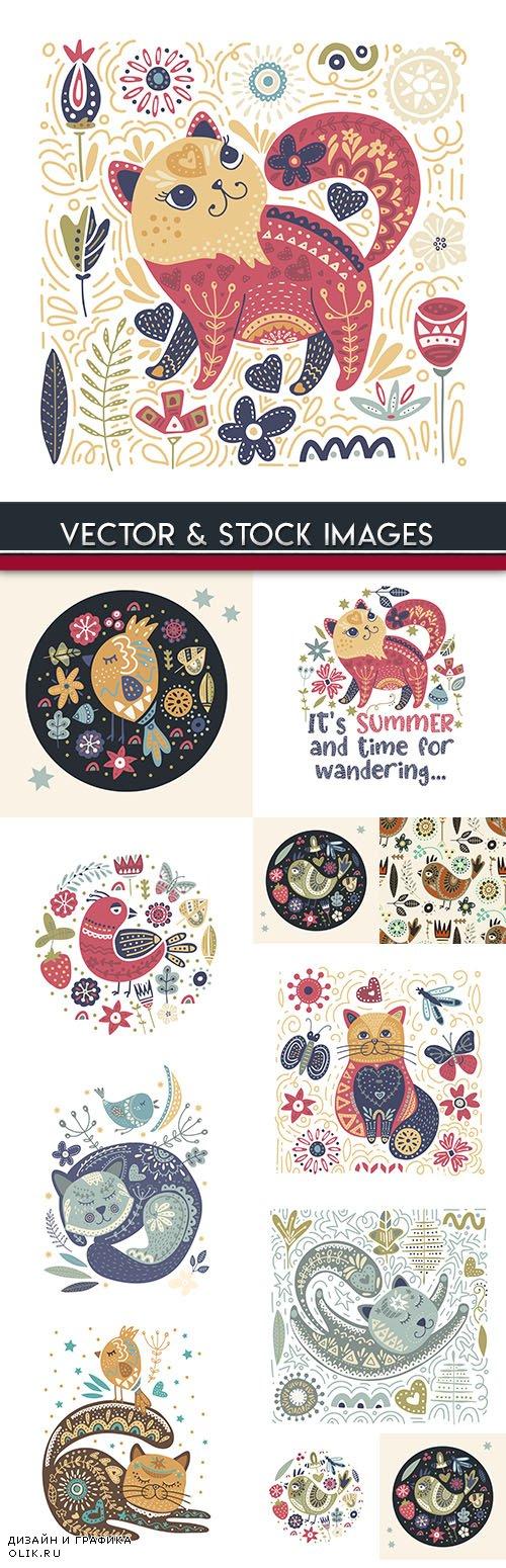 Vintage decorative ethnic summer patterns animals and birds