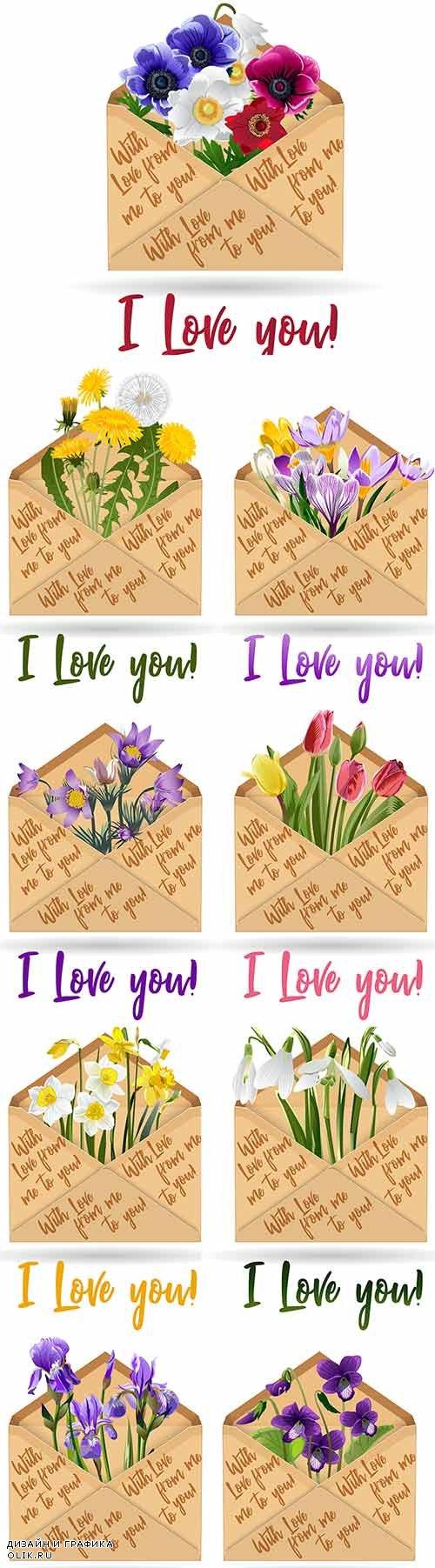 Цветы в конверте - Векторный клипарт / Flowers in envelope - Vector Graphics