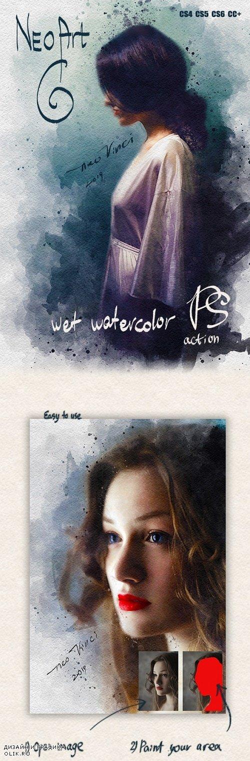 NEOart 6 Wet Watercolor PS Action 23685698