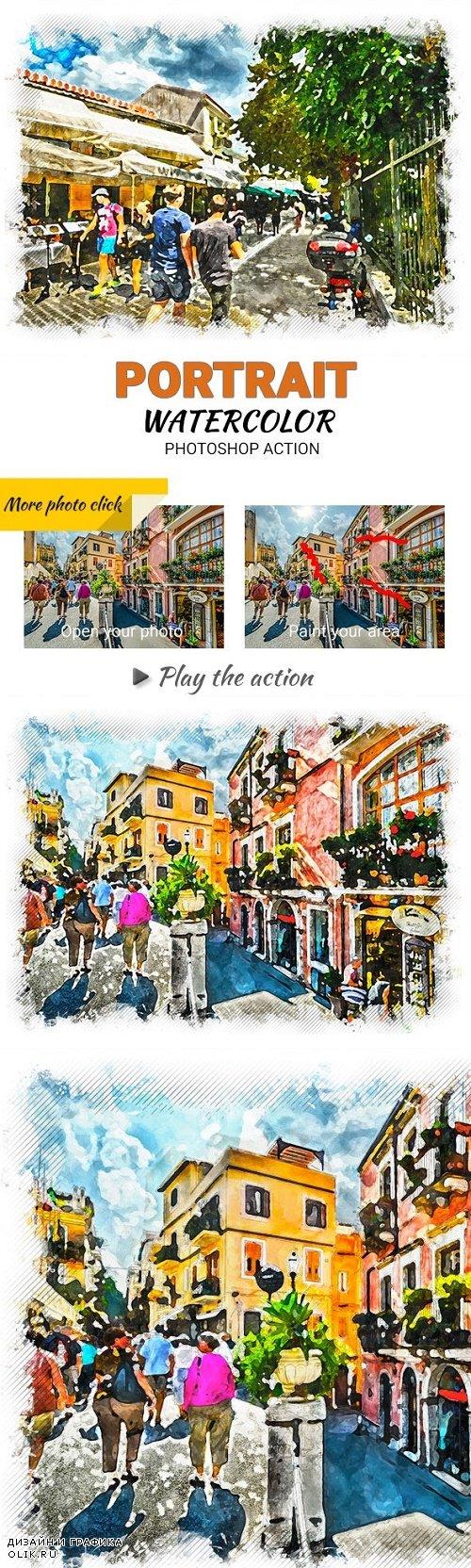 Portrait Watercolor Photoshop Action 23650966