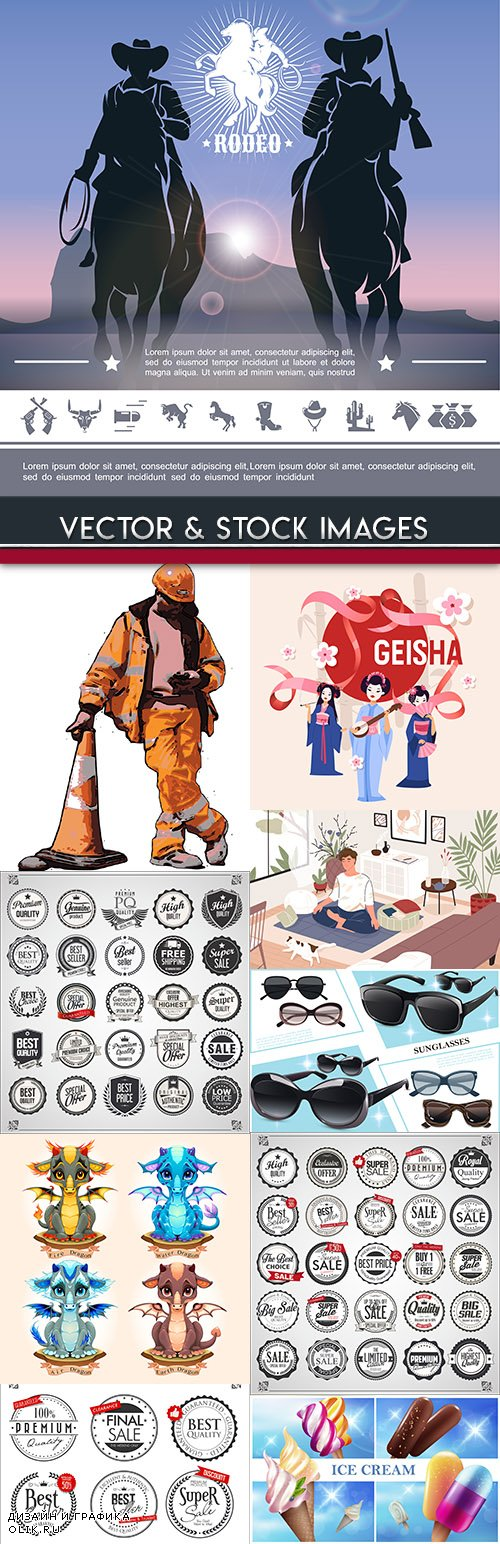 Collection vector illustrations on different subjects 40