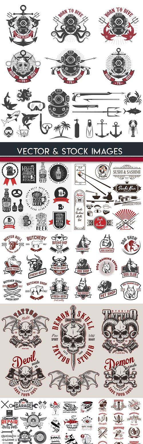 Vintage label and emblem design illustration 12