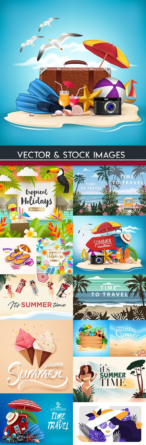 Summer holiday and travel beach accessories