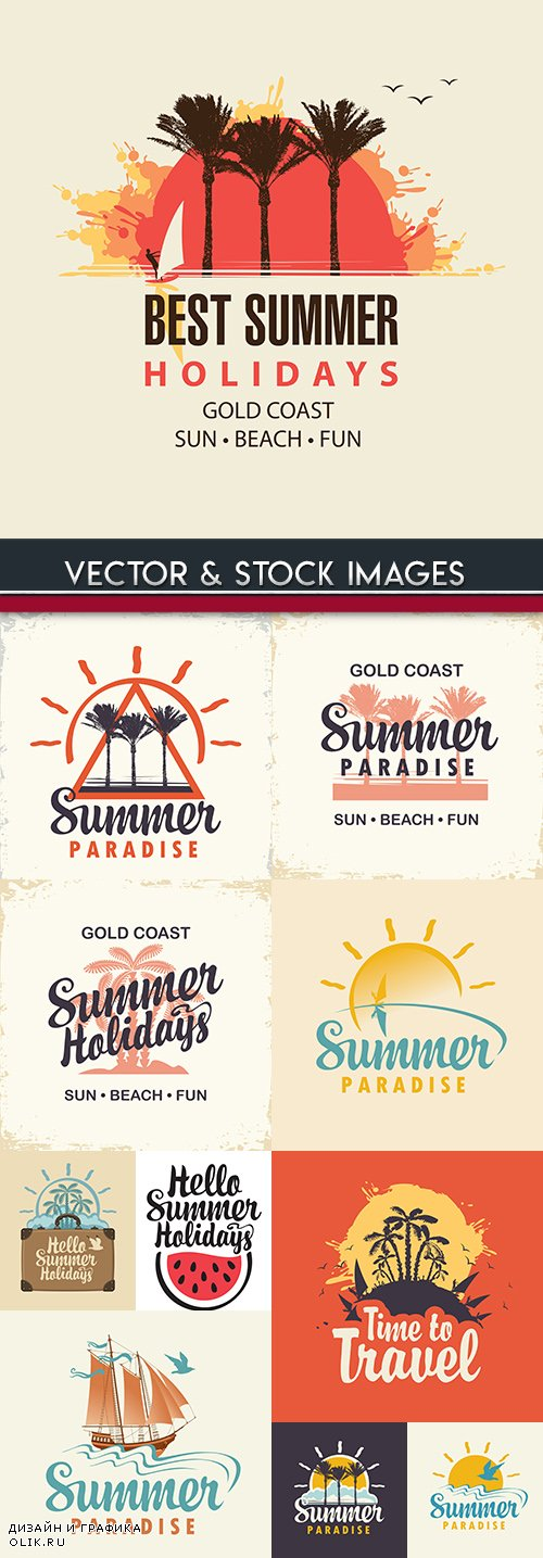 Summer travel and tropical rest design logo