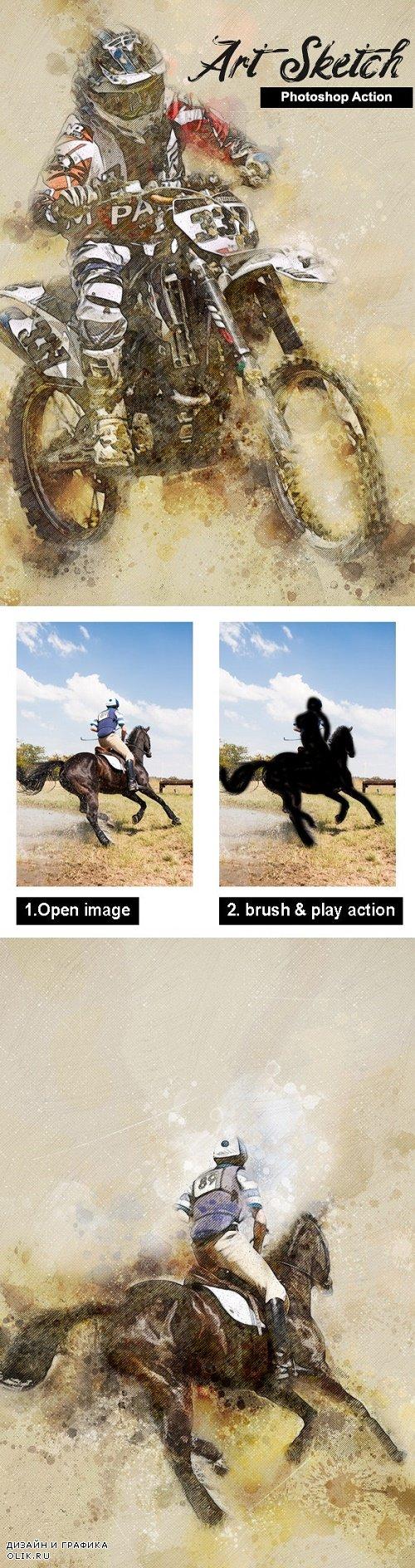 Amazing Art Sketch Photoshop Action 23698629