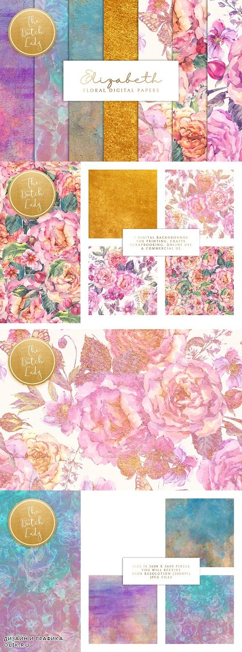 Floral Background & Paper - Elizabet - 3813739