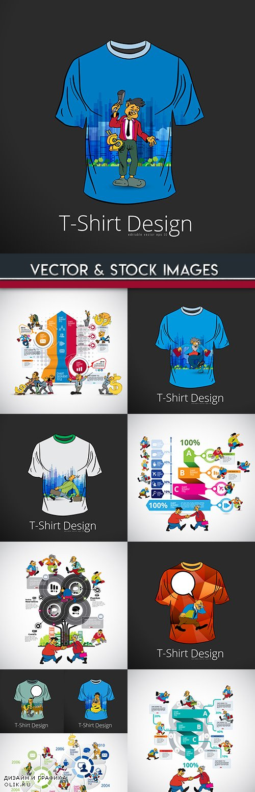 Design model of t-shirt with infographics elements