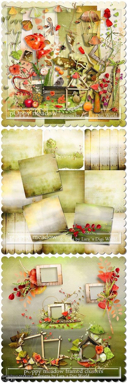 Scrap Kit - Poppy Meadow (Elements, Papers, Alpha)
