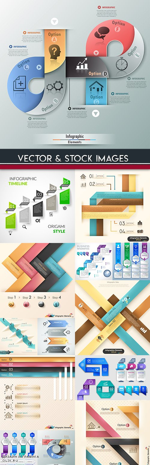 Business infographics options elements collection 63