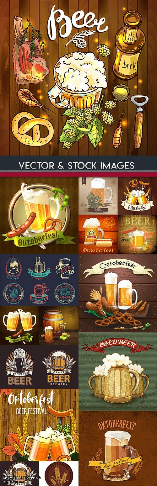 Circles foam beer and snack meat vintage illustration