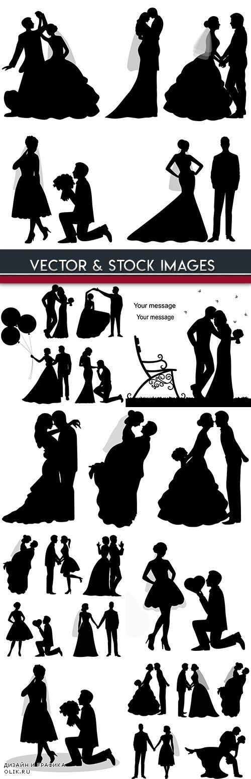 Groom and bride wedding ceremony romantic silhouettes
