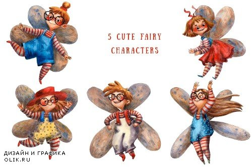 Little Fairies - Watercolor Clip Art - 3823454