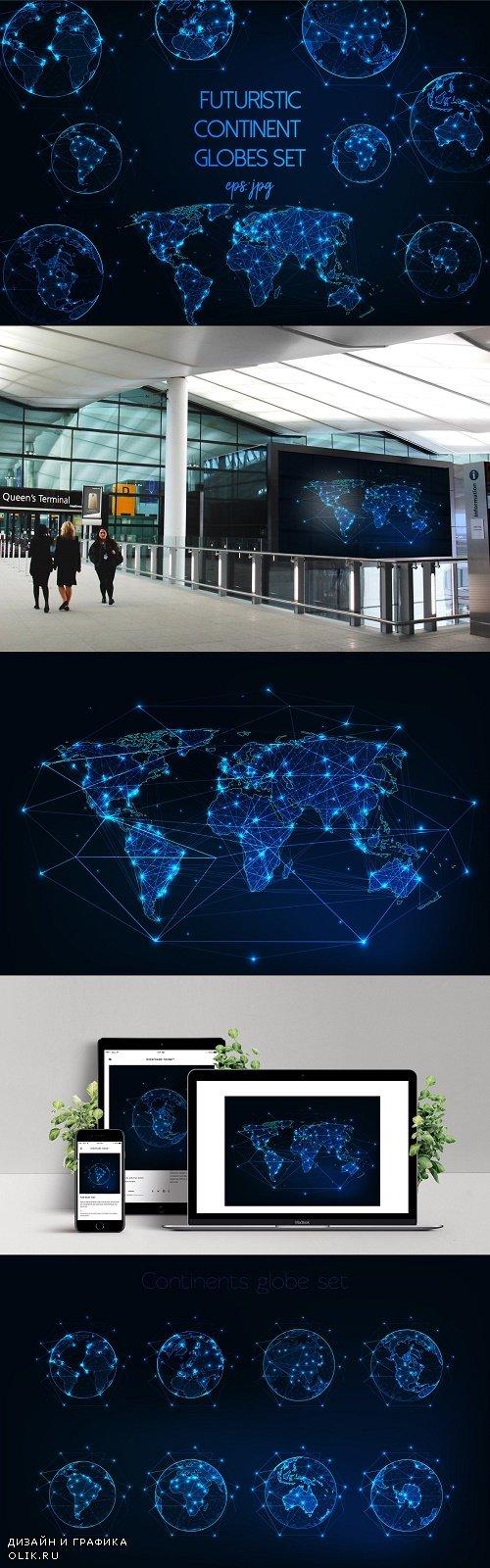 Futuristic continent globes set - 3821017