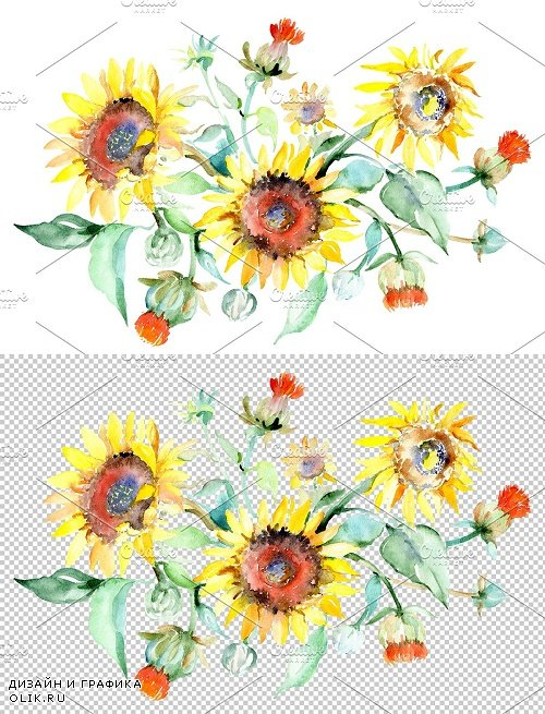 Bouquet sunflower field yellow - 3820926