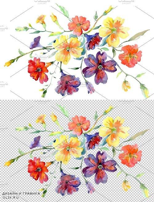 Bouquet flower boom watercolor png - 3820022